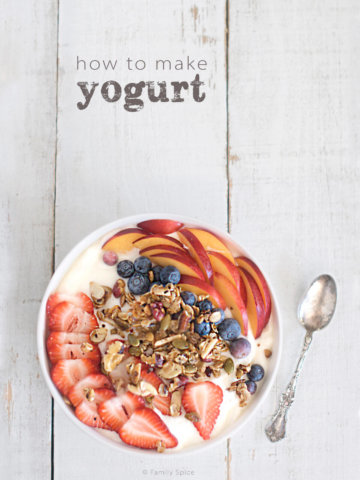 Overhead shot of a white bowl full of yogurt and topped with fresh fruit and granola by FamilySpice.com