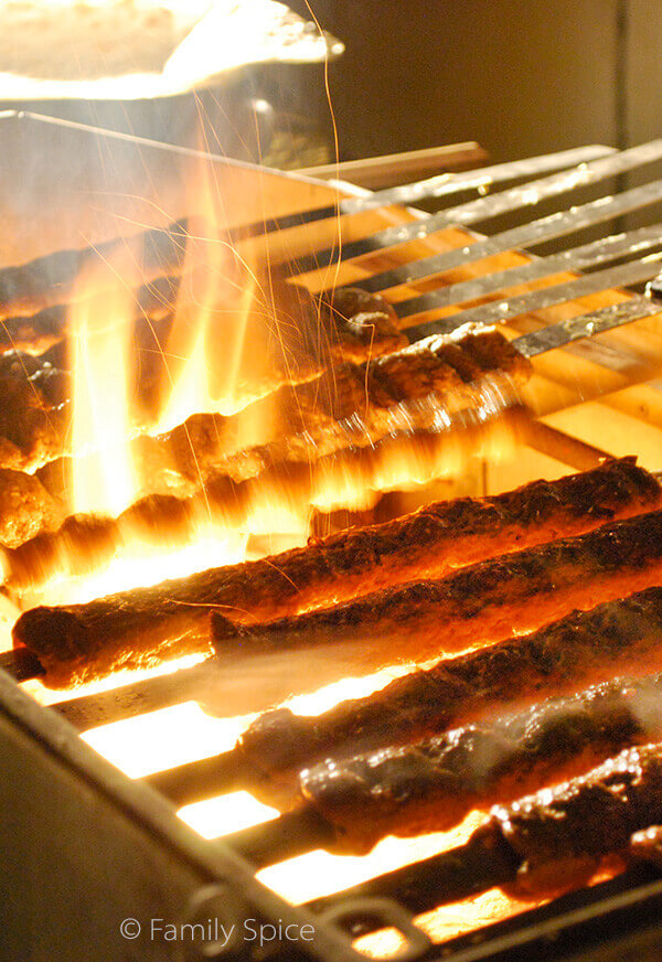 Grilling Persian Ground Beef Kabob (kabob-e koobideh) by FamilySpice.com