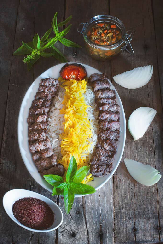 Top View of Persian Ground Beef Kabob (kabob-e koobideh) by FamilySpice.com