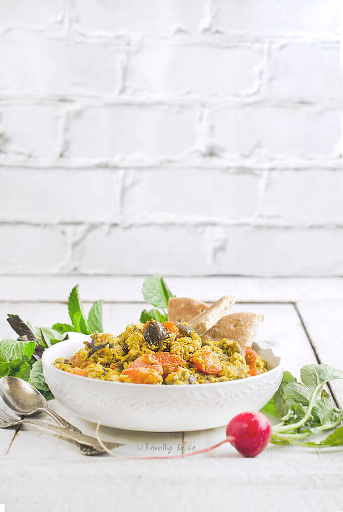 Mirza Ghassemi | Persian Eggs with Eggplant, Turmeric, and Tomatoes by FamilySpice.com
