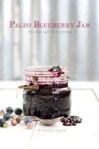 Paleo Blueberry Jam Made with Honey by FamilySpice.com