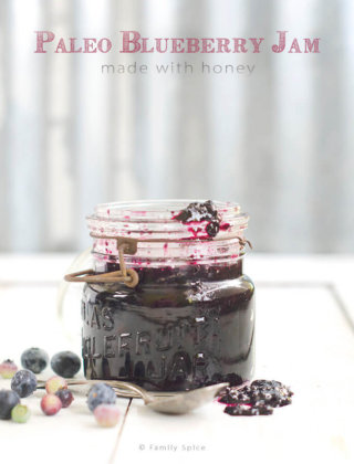 Paleo Blueberry Jam Made with Honey by FamilySpice.comklhu