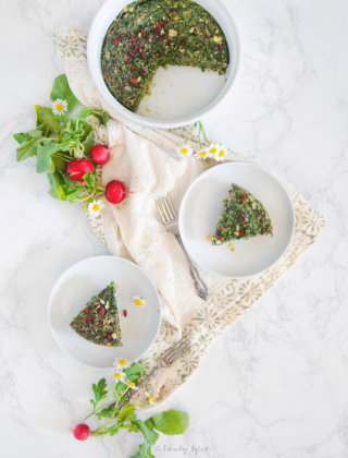 Overhead shot of several dishes with Persian kuku sabzi and fresh radishes