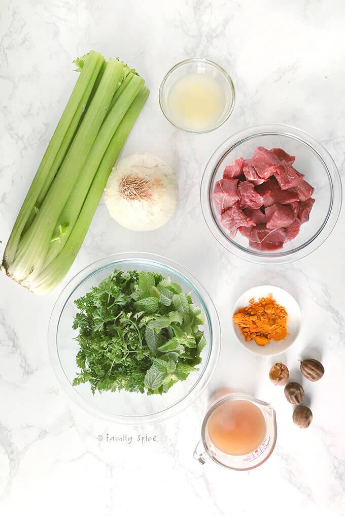 Ingredients to make Persian celery stew, khoresh karafs by FamilySpice.com