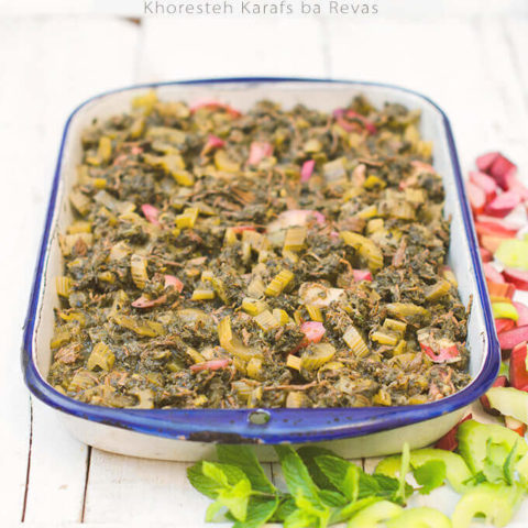 Persian Celery Stew with Mint and Rhubarb (Khoresh Karafs ba Revas)