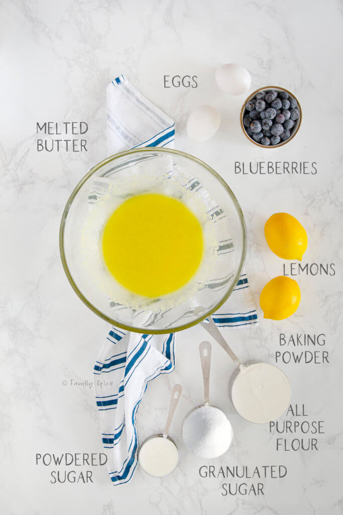 Ingredients needed and labeled for lemon blueberry bars