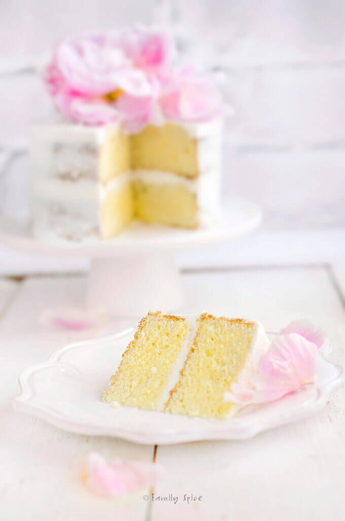 A slice of easy olive oil vanilla cake frosted in white and topped with a pink flower by FamilySpice.com
