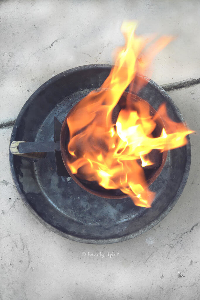 Overhead view of coals on fire in a coal chimney