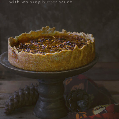 Pumpkin Pecan Pie with Whiskey Butter Sauce