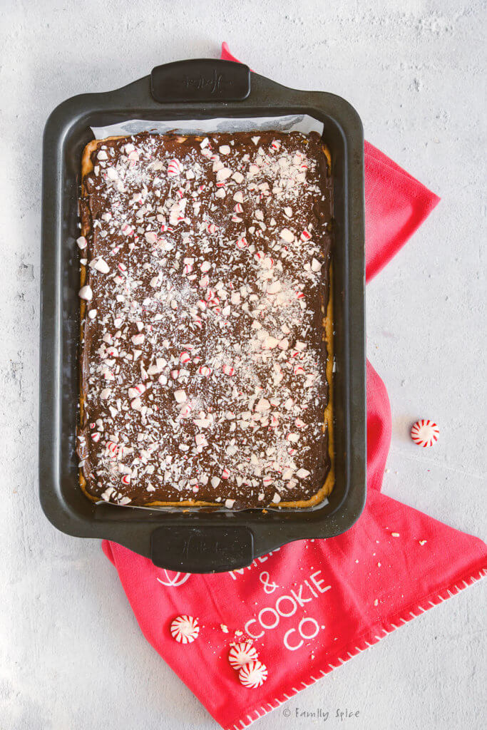 Shortbread cookie batter covered with melted chocolate and topped with crushed peppermints in a 9x13 metal pan