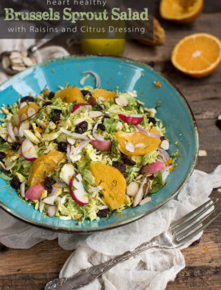 Heart Healthy Brussels Sprout Salad with Raisins and Citrus Dressing