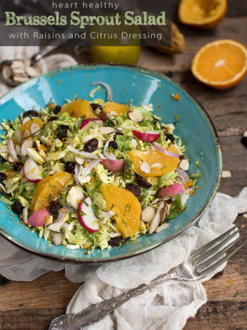 Heart Healthy Brussels Sprout Salad with Raisins and Citrus Dressing by FamilySpice.com