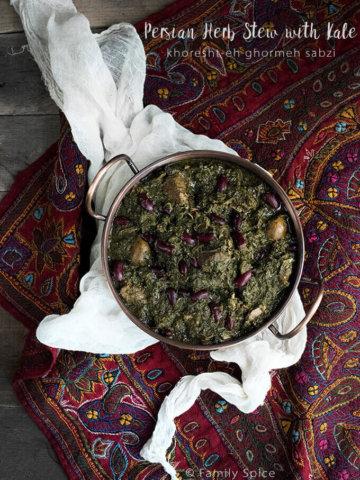 Persian Herb Stew with Kale (Khoresteh Gormeh Sabzi ba Kalam-e Peech) by FamilySpice.com
