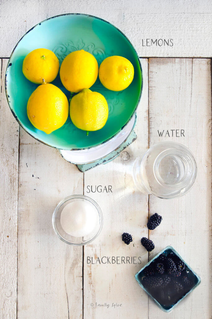 Ingredients labeled and needed to make blackberry lemonade