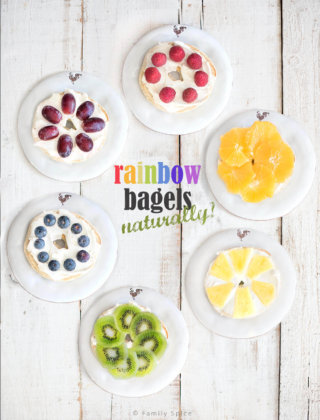 Overhead shot of rainbow bagels made with fresh fruit by FamilySpice.com