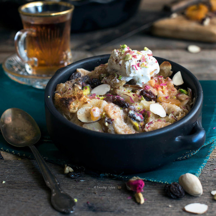 Egyptian Bread Pudding (Om Ali) with Raisins and Nuts