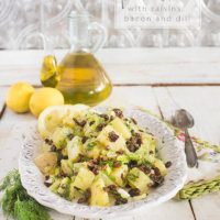 Olive Oil Potato Salad with Raisins, Lemon and Dill