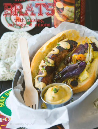 Oven Roasted Brats with Raisins, Cabbage and Onions