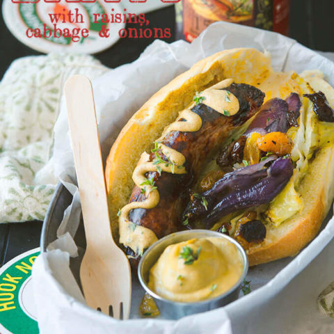 Oven Roasted Brats with Raisins, Cabbage and Onions by FamilySpice.com