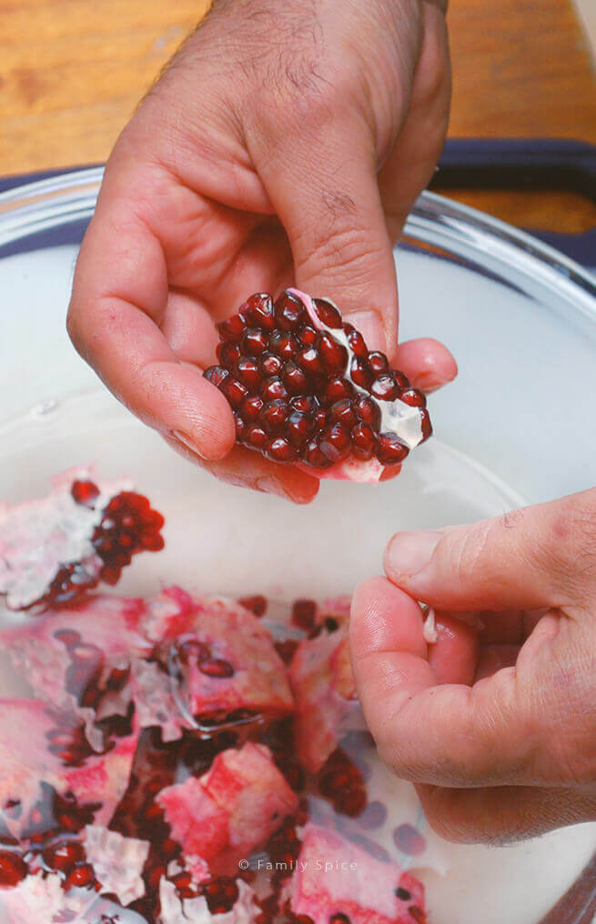 A segment from a cut pomegranate by FamilySpice.com