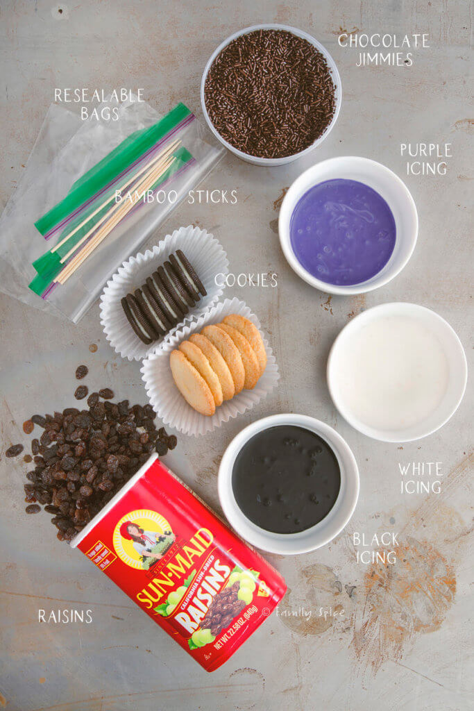 Labeled ingredients to make halloween spider cookies