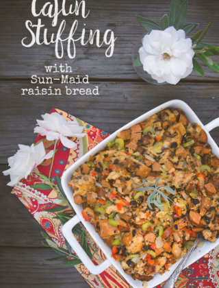 Kick up your Thanksgiving stuffing with this Cajun Stuffing made with andouille sausage and Sun-Maid Raisin Bread -- by FamilySpice.com