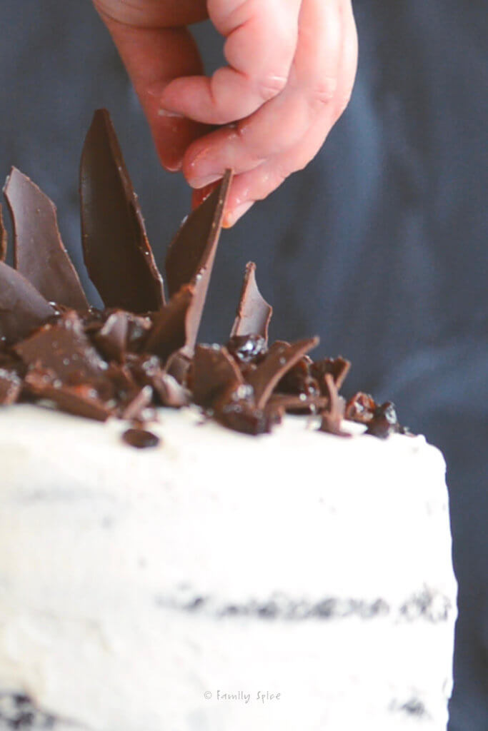 Inserting chocolate chards into a cake frosted with whipped cream