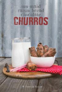 Chocolate Raisin Churros made with Sun-Maid Raisin Bread by FamilySpice.com