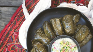 Persian Dolma Stuffed Grape Leaves with Raisins (or Dolmeh/Dolmades)
