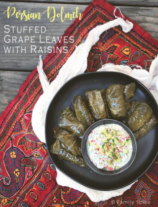 Persian Dolmeh | Stuffed Grape Leaves with Raisins