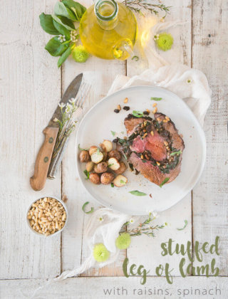 Stuffed Leg of Lamb with Raisins, Spinach and Pine Nuts by FamilySpice.com