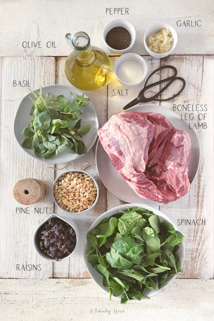 Ingredients needed and labeled to make stuffed leg of lamb