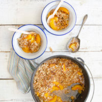 Campfire Dutch Oven Peach Crisp with Almonds