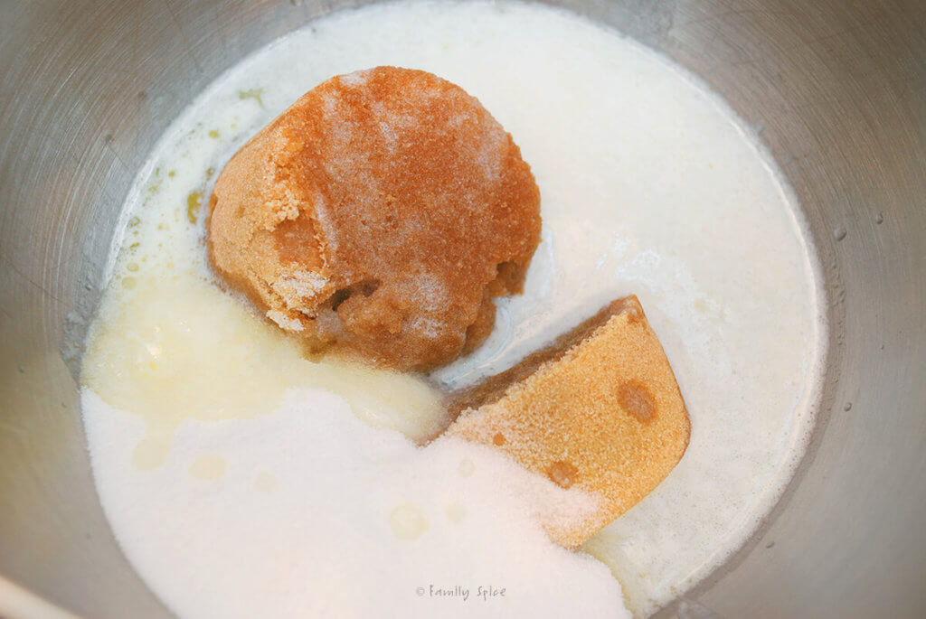 Brown sugar, sugar and butter in a mixing bowl