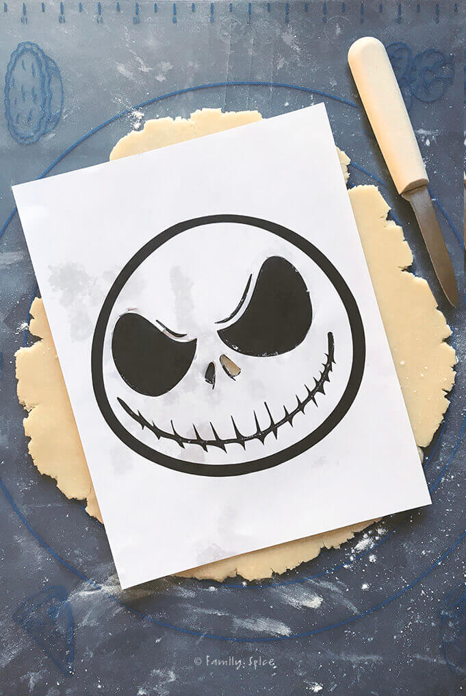 Stenciling Jack Skellington Balsamic Cherry Pie for Halloween by FamilySpice.com
