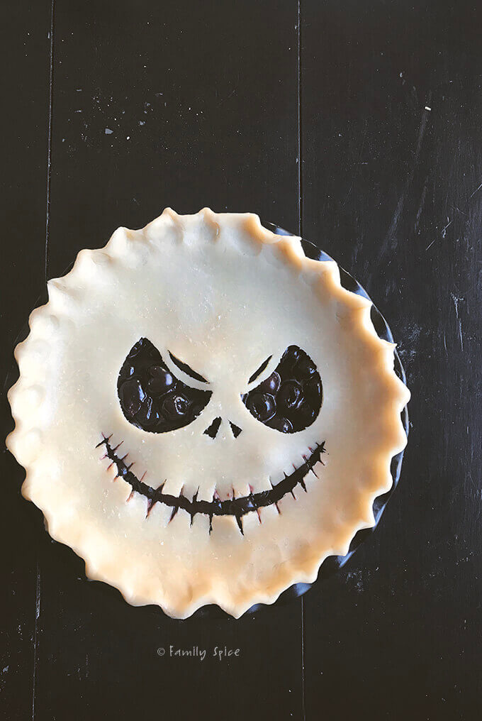 Ready to Bake Jack Skeleton Balsamic Cherry Pie for Halloween by FamilySpice.com