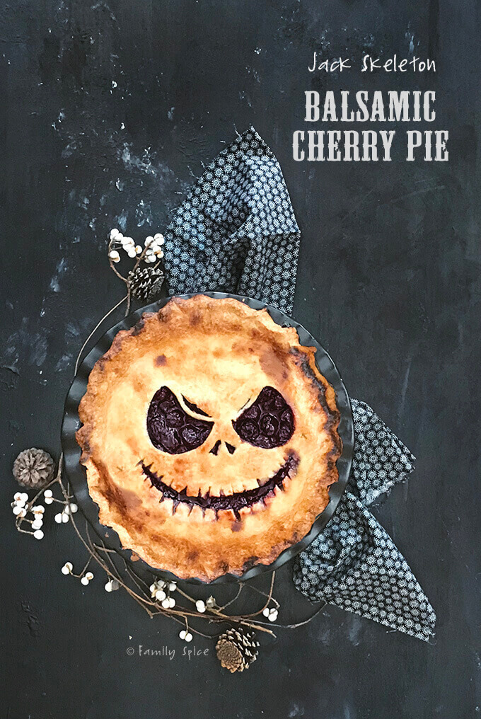 Jack Skeleton Balsamic Cherry Pie for Halloween by FamilySpice.com