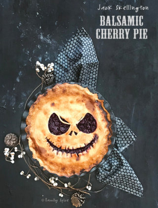 Jack Skellington Balsamic Cherry Pie for Halloween by FamilySpice.com