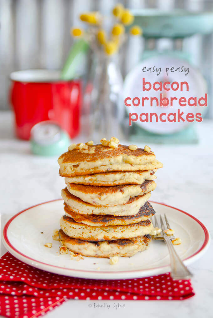 A tall stack of bacon cornbread pancakes by FamilySpice.com