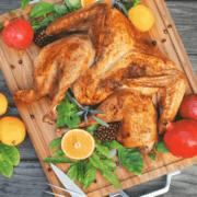 pinterest image for orange and sage spatchcocked turkey