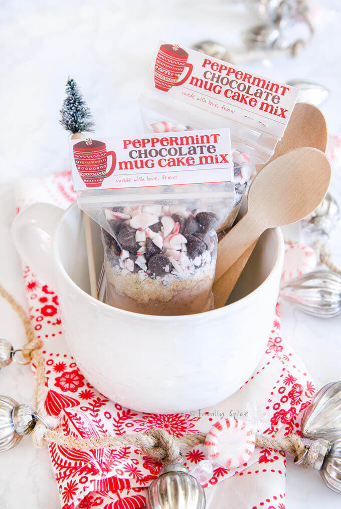 Close up of peppermint chocolate mug cake mix packed in gift bags with free printable by FamilySpice.com