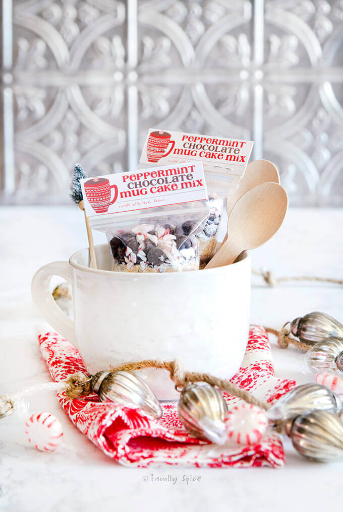 Peppermint chocolate mug cake mix packed in gift bags with free printable by FamilySpice.com