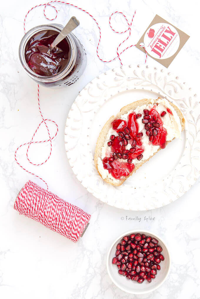 Pomegranate jelly spread on toast with cream cheese by FamilySpice.com
