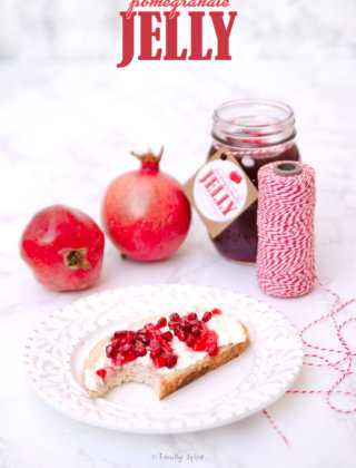 Pomegranate jelly spread on toast with free label printable by FamilySpice.com