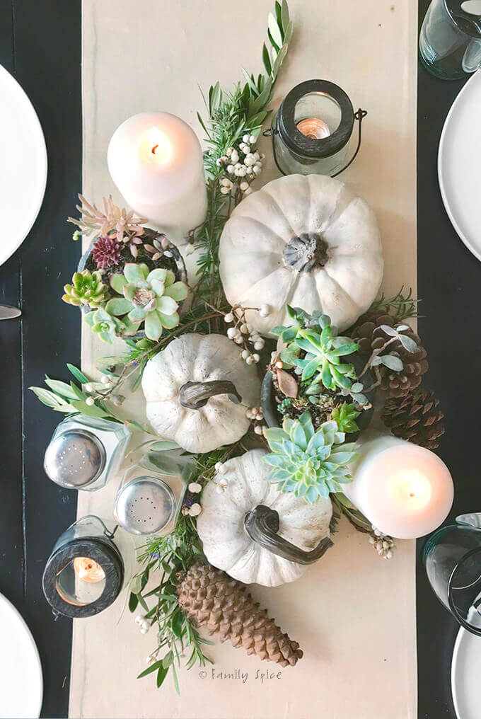 Overhead view of succulent centerpiece with pinecones and white pumpkins for Thanksgiving centerpiece by FamilySpice.com