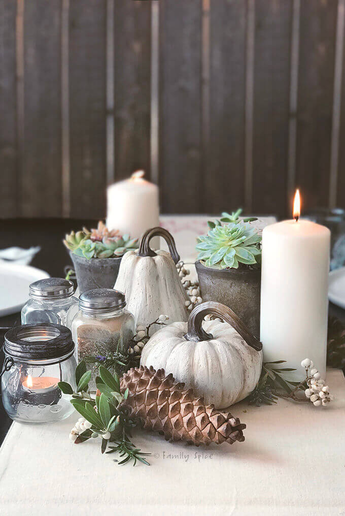 Succulent centerpiece with pinecones and white pumpkins for Thanksgiving centerpiece by FamilySpice.com