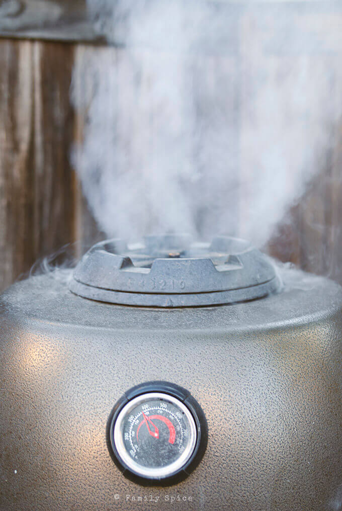 Smoke coming out of the our Big Steel Keg by FamilySpice.com