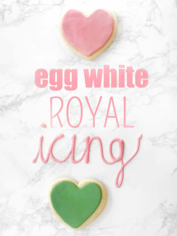 "Two heart sugar cookies and words saying ""egg white royal icing"""