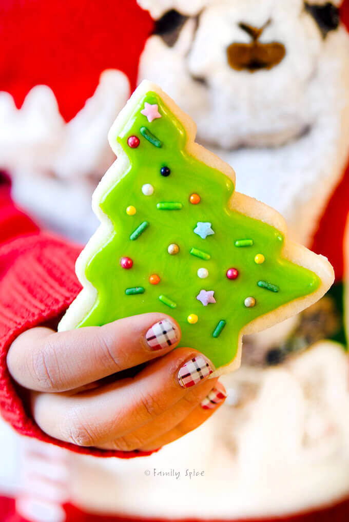 Closeup of young girl holding a decorated Christmas tree sugar cookies by FamilySpice.com
