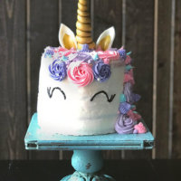 Unicorn Cake with Rainbow Layers